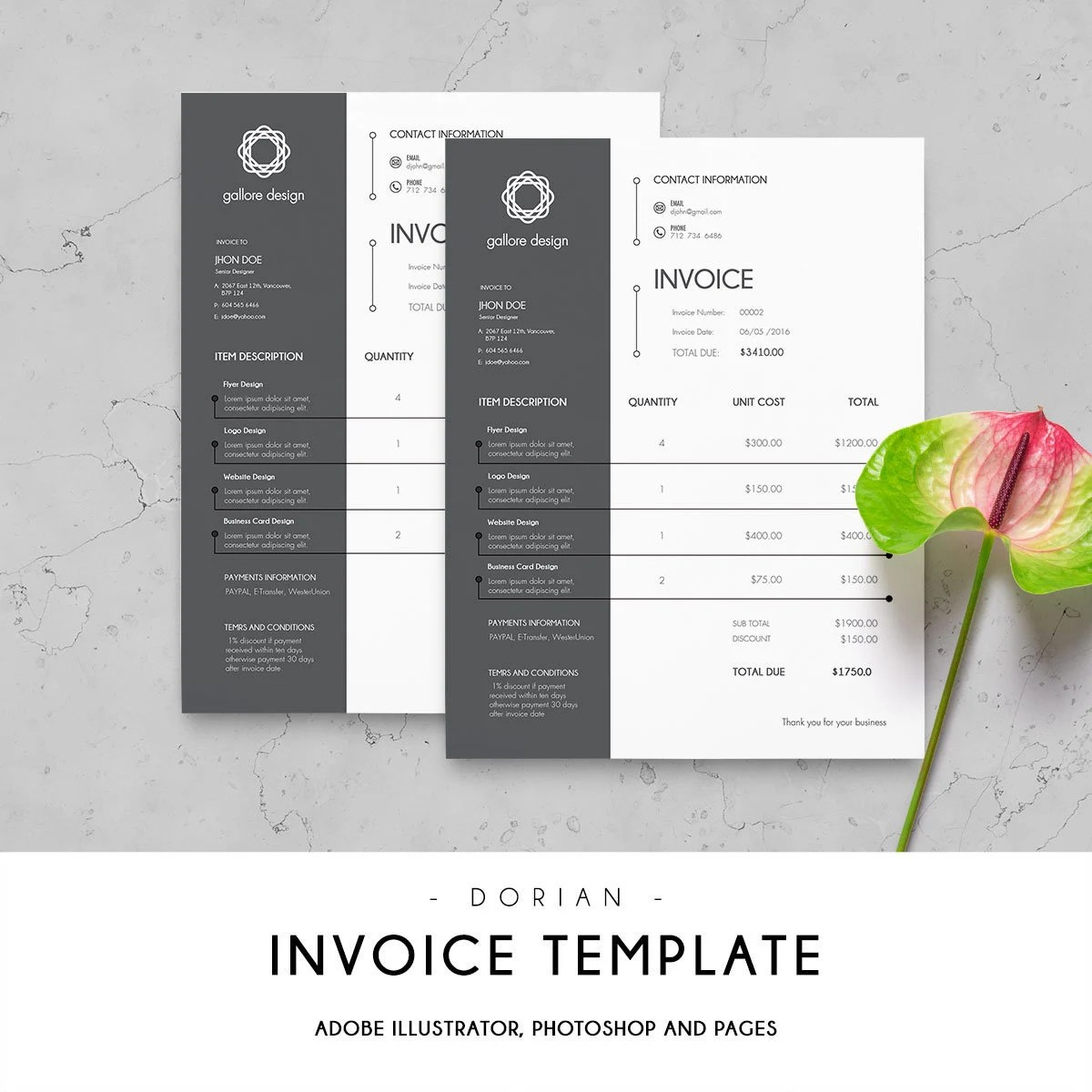 Invoice template   Etsy Printable Invoice Template   Invoice Design   Business Templates   Template    Modern Invoice   Receipt Template   Billing Template