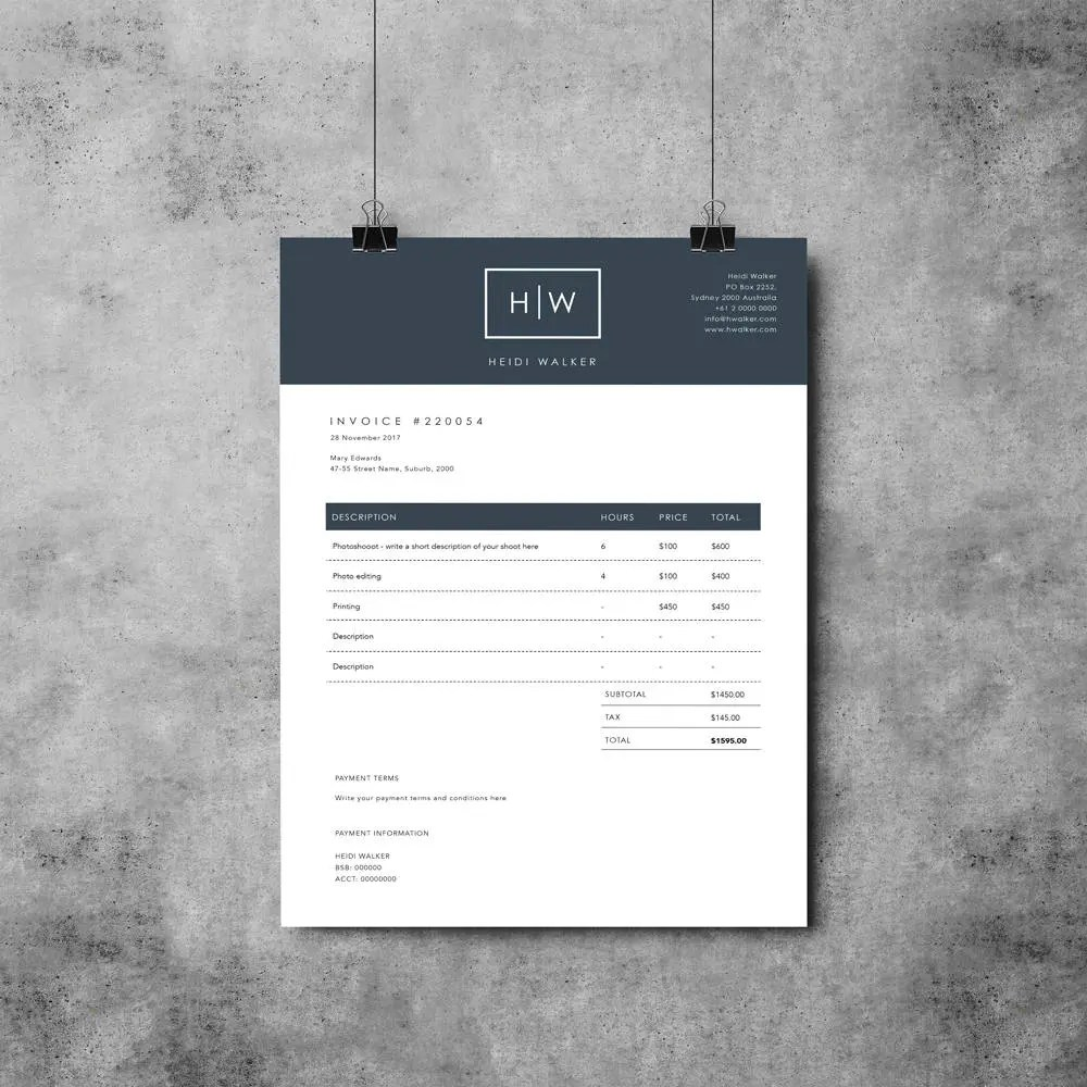 Printable Invoice Template MS Word receipt template   Etsy Photographer Invoice Template   Invoice Design   Receipt Template   MS Word    Photoshop