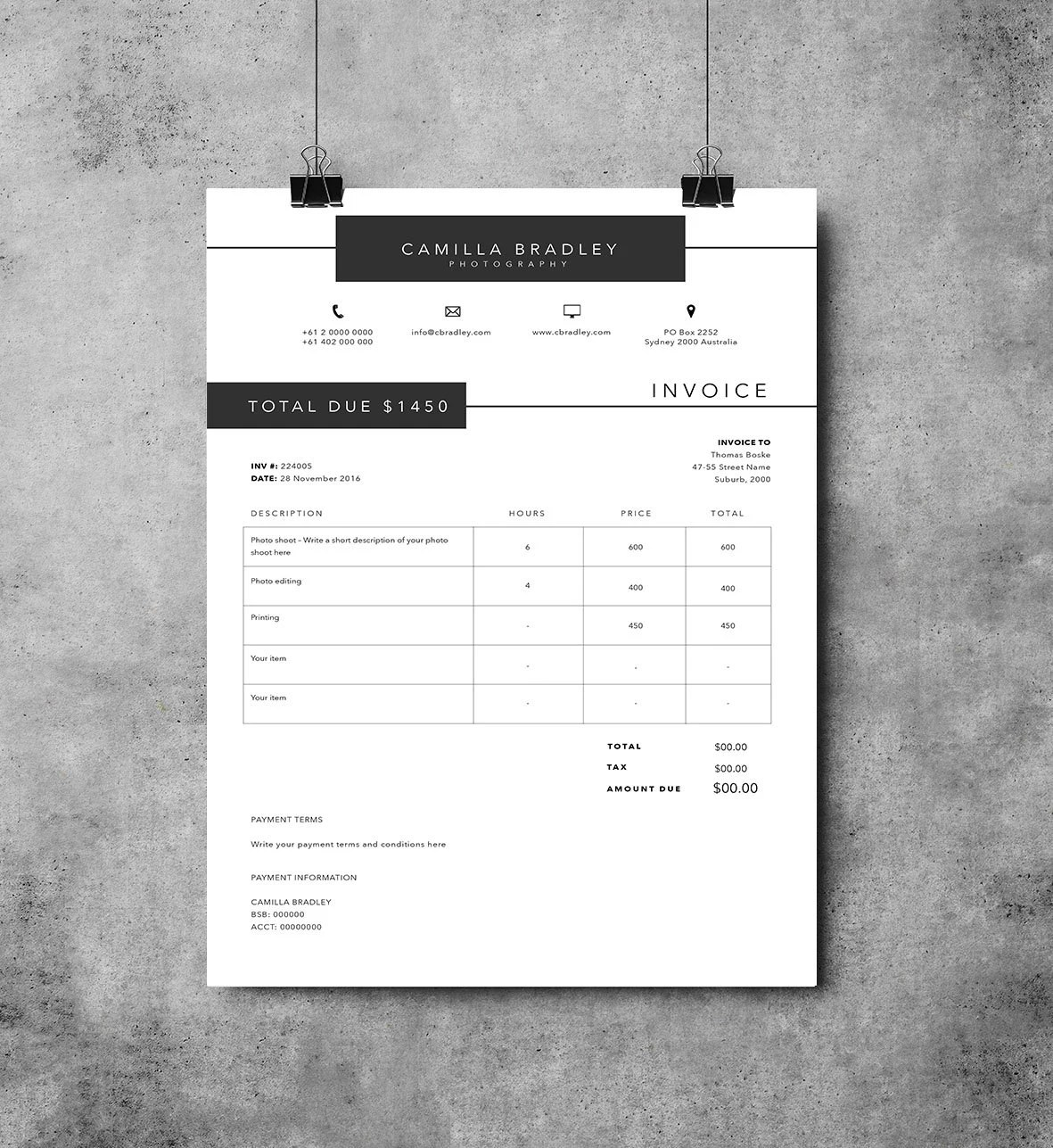 images for photography invoice