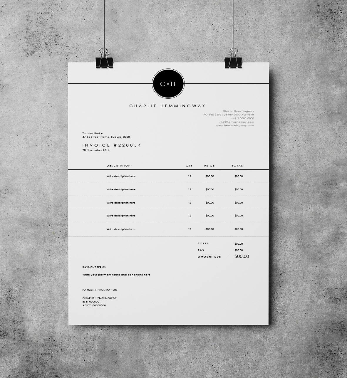 Invoice Template Invoice Design Receipt MS Word Invoice   Etsy