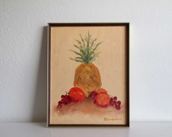 Pleasing Vintage Painting Pineapple Painting Mid Century Art Still Life Fruit Decor Vintage Painting Pineapple Painting Mid Century Art Still Life Fruit Mid Century Art Prints Mid Century Art Sale