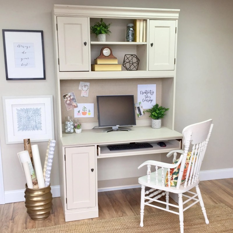 Large Of White Desk With Hutch