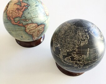 Vintage Globes   Maps   Etsy Vintage world map globe with optional wooden stand