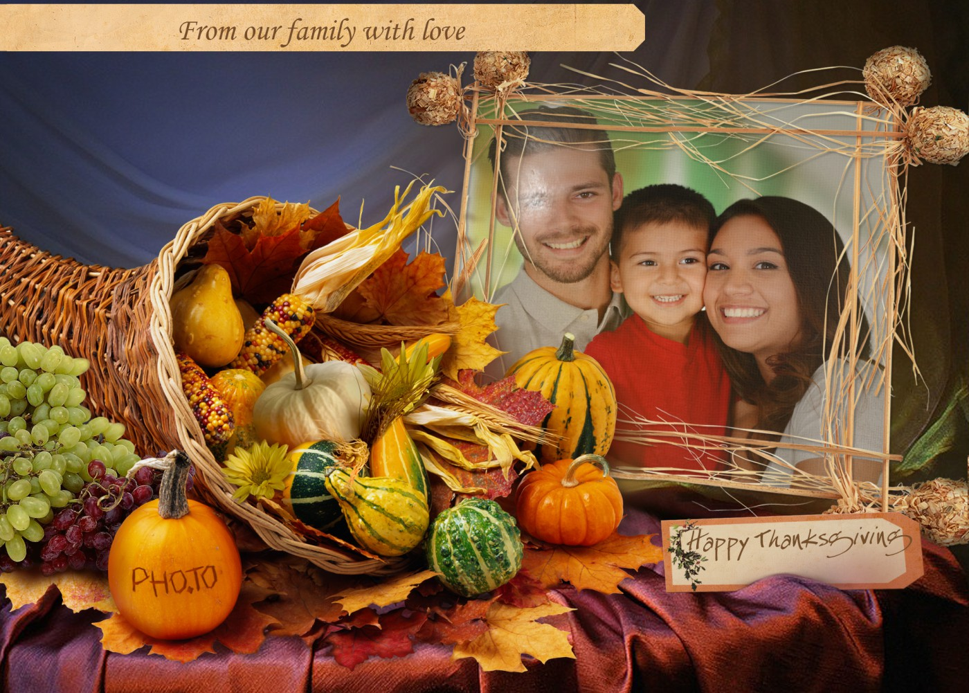 Exquisite Put Your Photo Into Thanksgiving Card Template To Get A Thanksgiving Greeting Card Say It Happy Thanksgiving Family Clipart Happy Thanksgiving Family Poems ideas Happy Thanksgiving Family