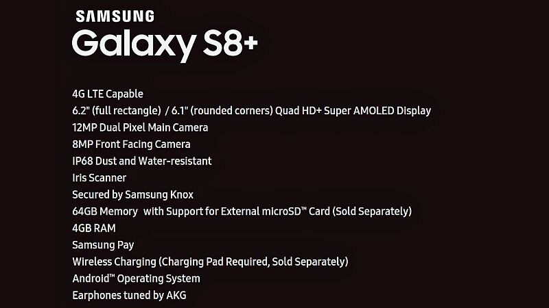 Samsung Galaxy S8+ Specifications List Leaked; 6.2-Inch Display, 'Dual Pixel' Camera Tipped