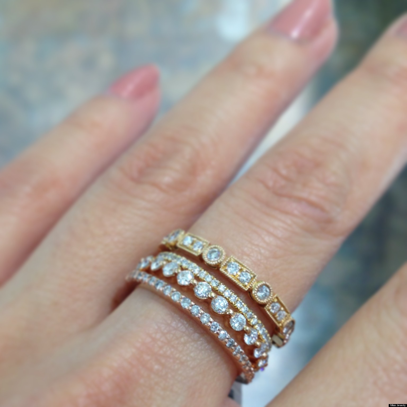 stackable wedding bands n sports wedding bands Stackable Wedding Bands Are One Of Our Favorite Jewelry Trends PHOTOS HuffPost