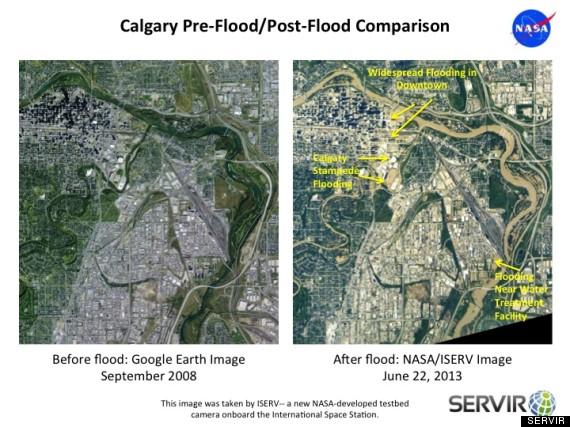 Calgary Before & After, Credit: Google Earth and NASA
