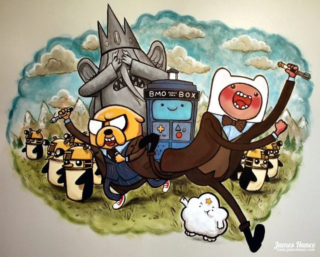 Adventure Time Finn Jake Lumpy Space Princess Ice King BMO Doctor Who 10 11 Adipose weeping angel TARDIS Dalek sonic screwdriver