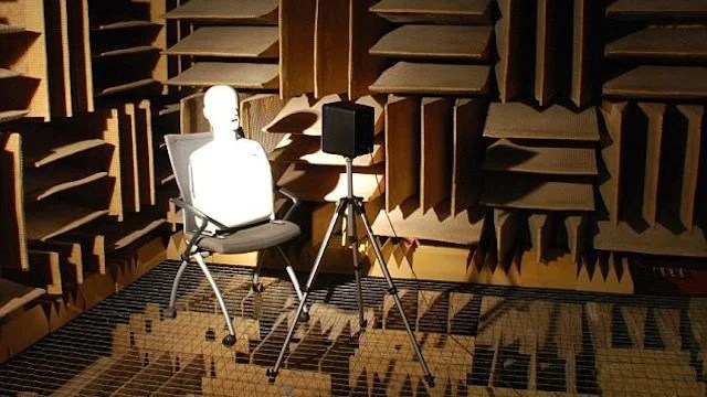In a very quiet anechoic chamber no sound from the outside world enters you ear canals 1