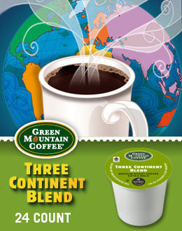 Green Mountain Three Continent Keurig Kcup Coffee