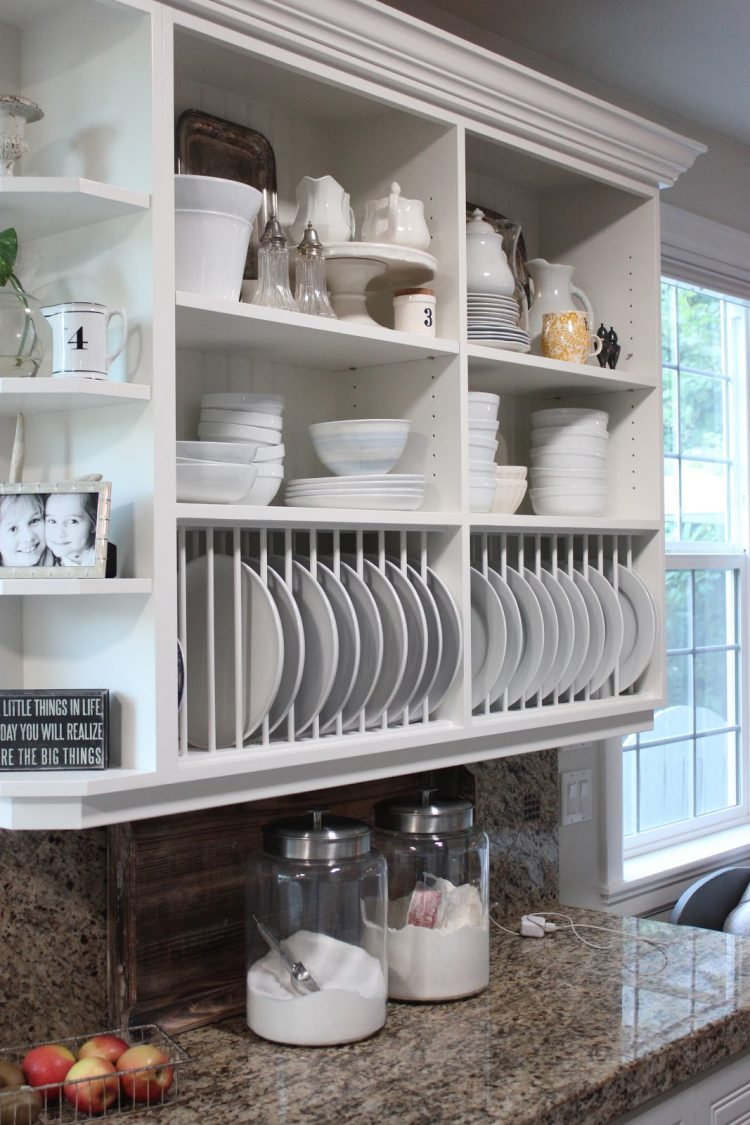open kitchen cabinets is also a great alternative to standard upper cabinets that is perfect to become a plate rack 750x1125