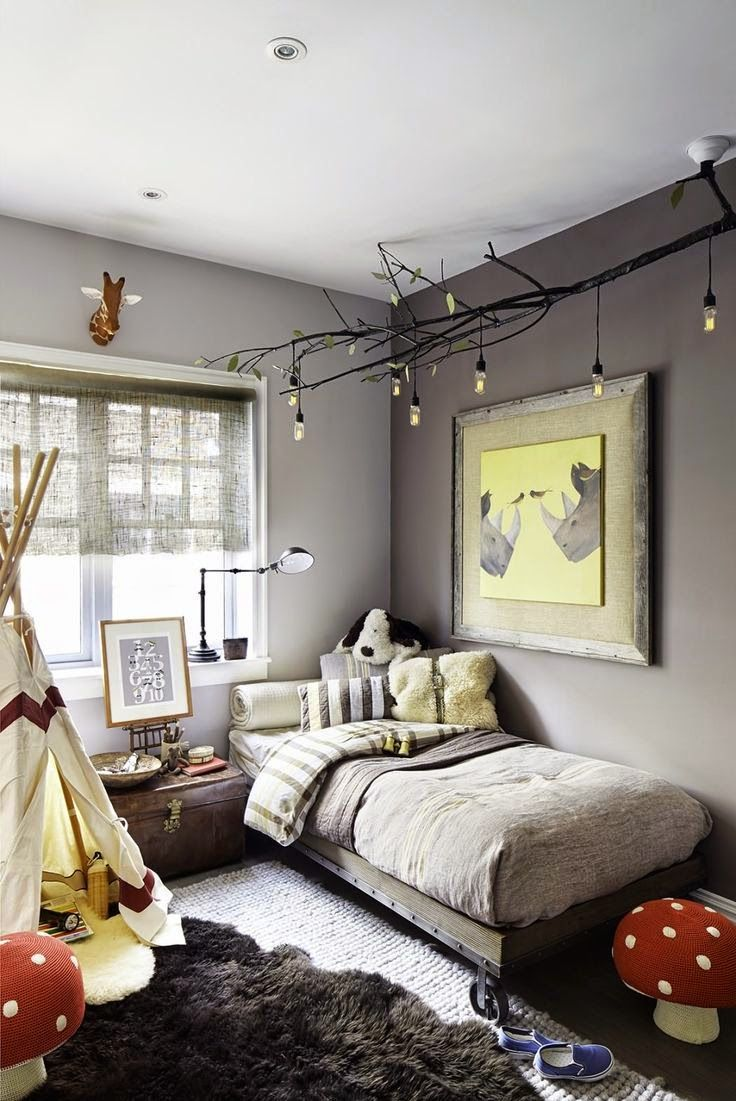 Hilarious Branches Is A Addition To An Eclectic Kidsroom Kids Room Decor Ideas That You Can Do By Yourself Shelterness Boys Room Decorating Ideas Boys Room Decorating Ideas Pinterest Diy Celing Light decor Boys Room Decor