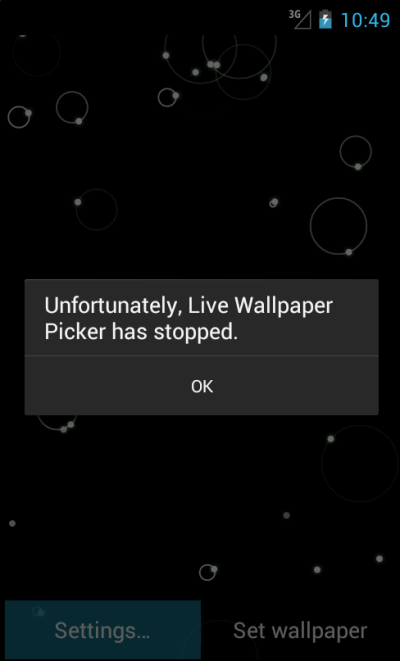 java - Live Wallpaper crash when tap on Settings - Stack Overflow