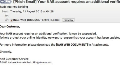 The email scam pretending to be from NAB.