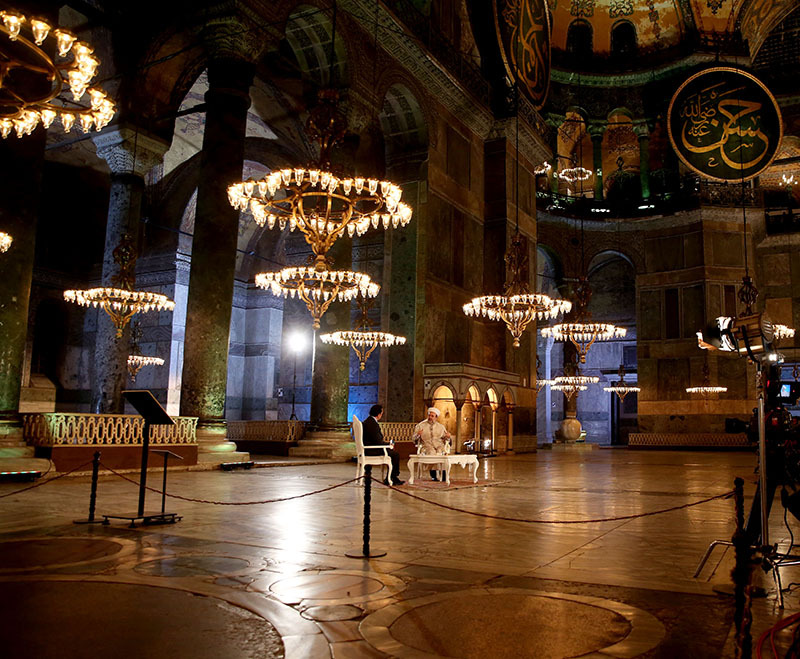 Muezzin recites azan from inside Istanbul's Hagia Sophia for first time in 85 years