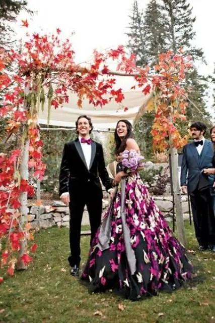 red leaf fall wedding arch