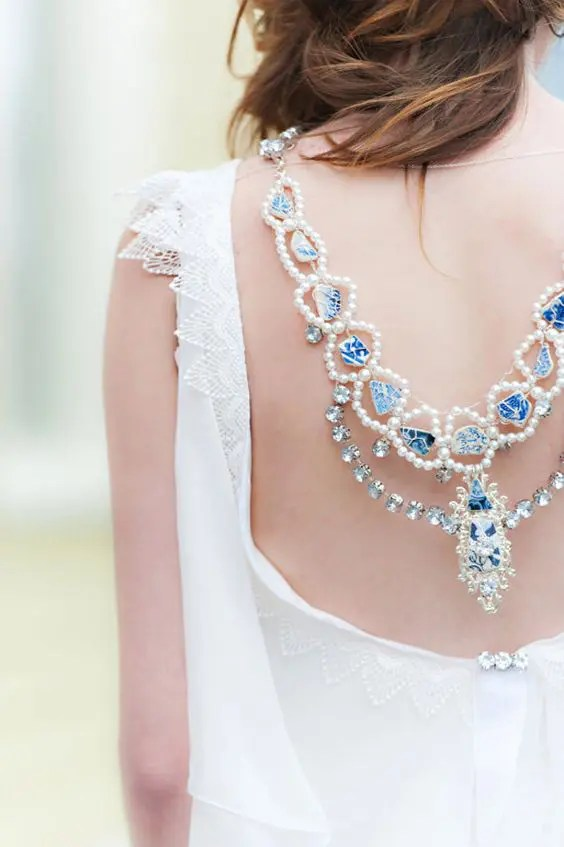 blue statement necklace with pearls
