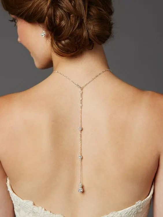 crystal fireball back wedding necklace