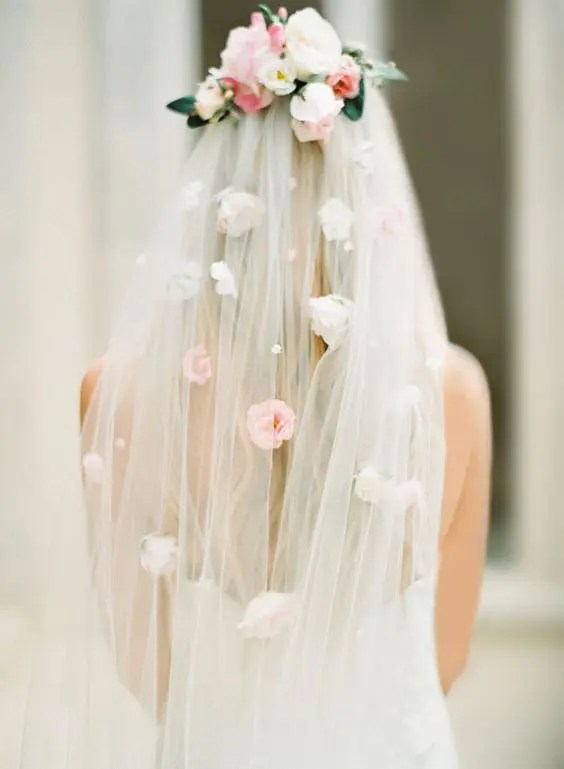 a veil with pearls and faux florals on the veil and its top looks veyr spring-like