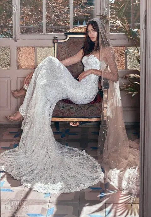 a champagne-colored embellished wedding veil for a glam feel in your bridal look