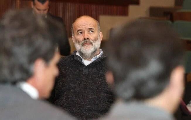 João Vaccari Neto durante acareação da CPI da Petrobras, na sede da Justiça Federal, em Curitiba (PR).