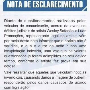 Assessoria de Wesley Safadão divulgou sua versão sobre o caso
