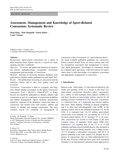 (PDF) Assessment, Management and Knowledge of Sport-Related Concussion: Systematic Review
