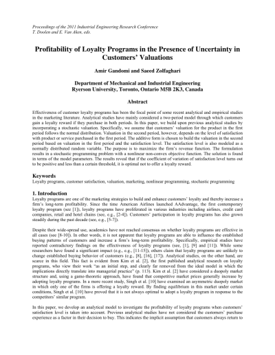 (PDF) Profitability of Loyalty Programs in the Presence of Uncertainty in Customers' Valuations