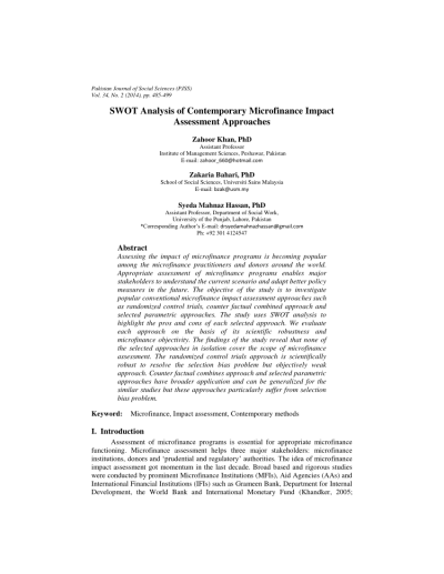 (PDF) SWOT Analysis of Contemporary Microfinance Impact Assessment Approaches