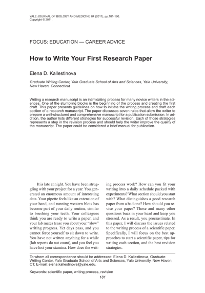 (PDF) How to Write Your First Research Paper