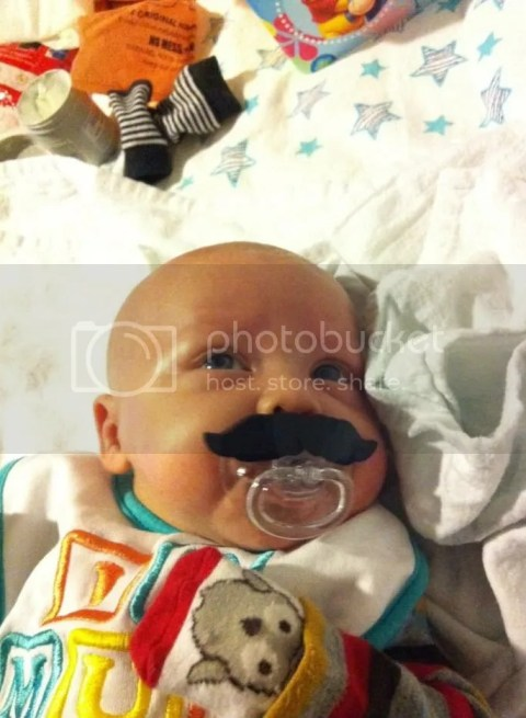 Sucking pacifier like a sir !