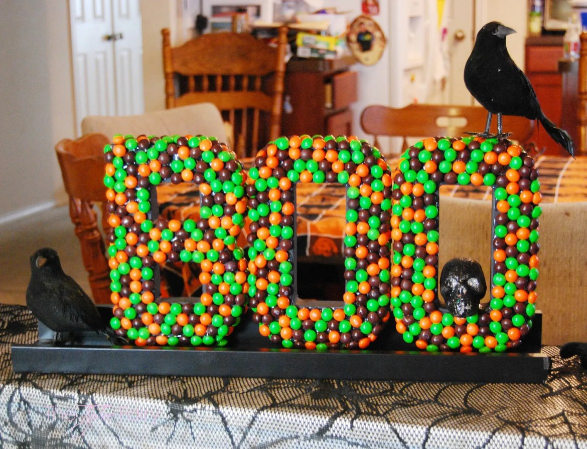 Halloween Letter Art Tutorial with Skittles Candy   The TipToe Fairy A fun DIY Halloween Decor featuring Skittles candies! You can totally make this! @SamsClub #SweetOrTreat #cbias #shop #candycrafting #tutorial #halloweendecor #halloween #halloweenDIY #DIY #ikeahack