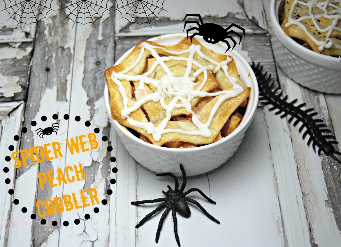 Make Spider Web Mini Peach Cobblers with spider web cookie cutters | The TipToeFairy #halloweentreats #halloweenrecipes #peachrecipes #peachcobbler