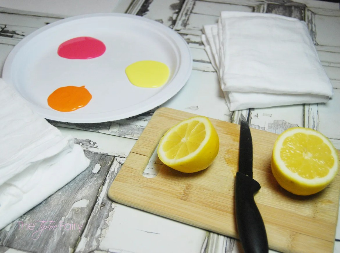 Tutorial to make Lemon Stamped Towels for a Citrus Themed Housewarming Gift Basket with sweets, treats, and lemon stamped towels!   The TipToe Fairy #FoamSensations #ad