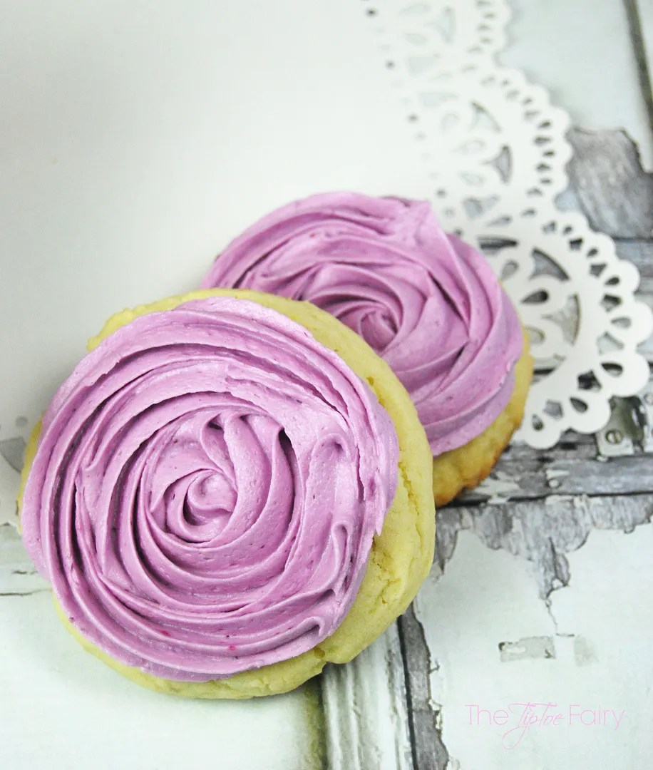 Lemon Sugar Cookies with Blueberry Frosting | The TipToe Fairy