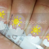 Nail art for beginners: Sun and clouds nail art