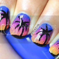 Palm tree at night nail art tutorial