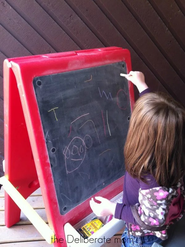 Playspaces for small backyards - an easel. http://thedeliberatemom.com