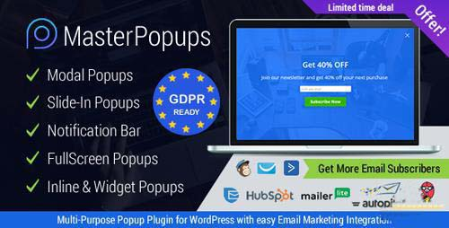 MASTER POPUPS V2.5.3 - WORDPRESS POPUP PLUGIN FOR EMAIL SUBSCRIPTION