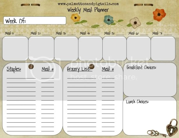 House Manager: Weekly Meal Planner Template from Palmettos and Pigtails