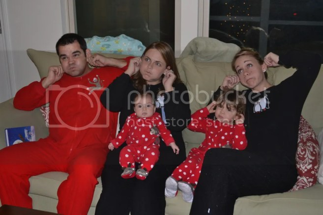 Holiday tradition of footy pajamas on Christmas Eve! Palmettos and Pigtails