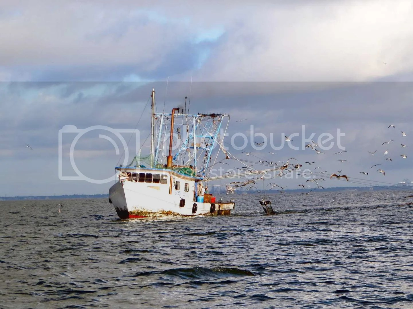 Shrimp boat out in Gulf of Mexico