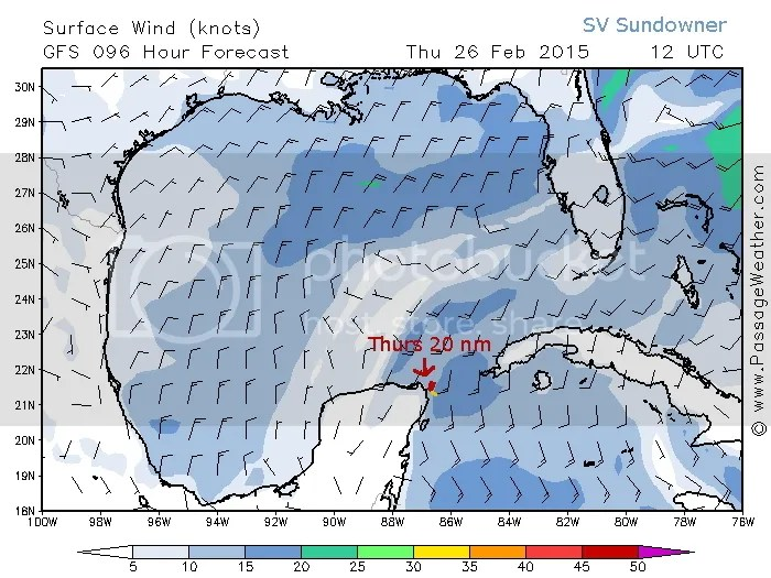Thursdays wind map with route