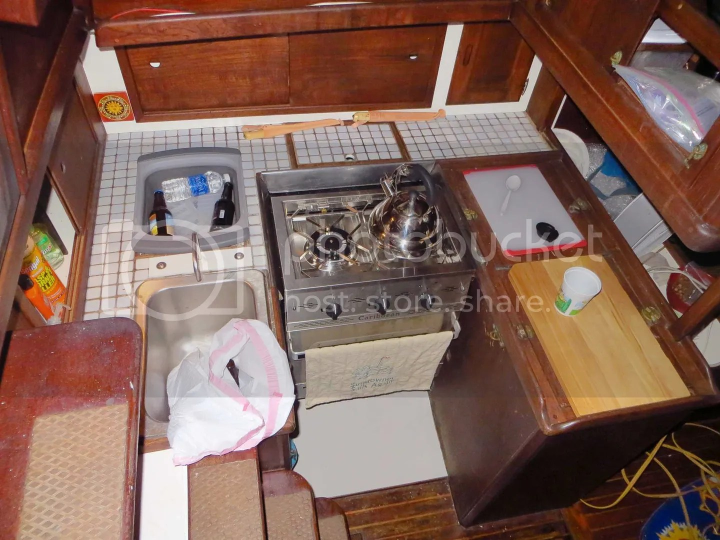 View of the Dickinson Caribbean stove from the companionway