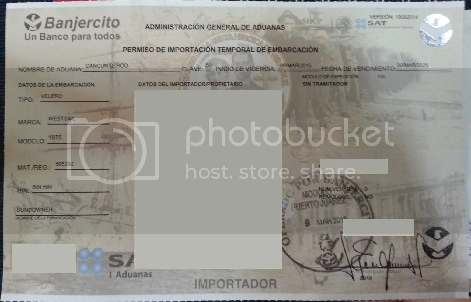 Mexico Temporary Import License