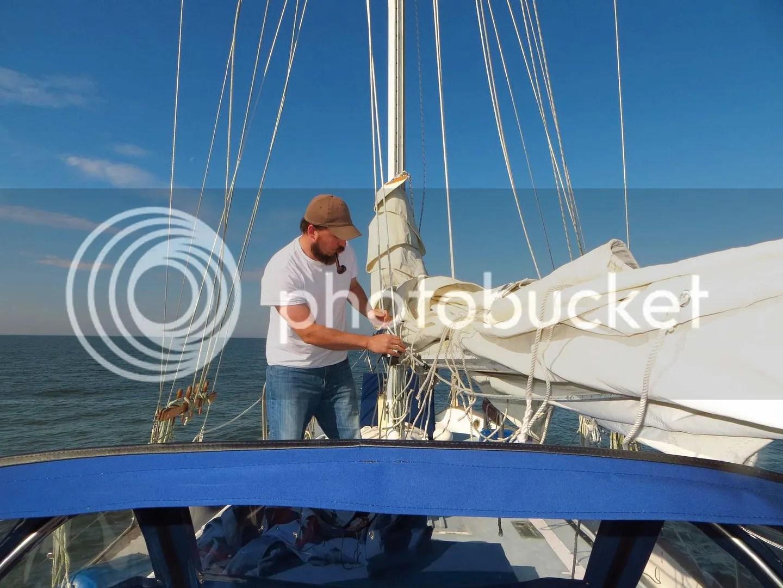 Tate preparing the mainsail