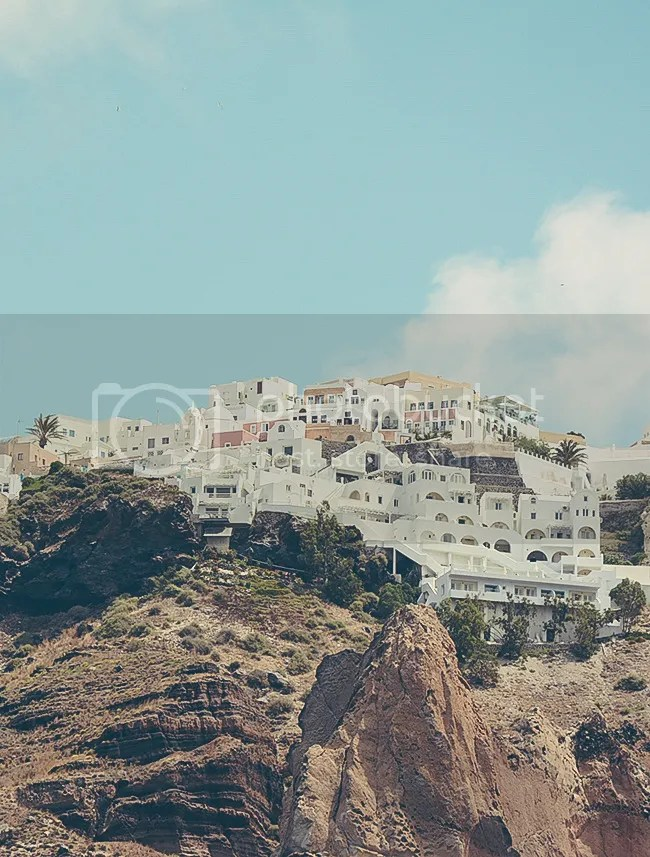 Fira from the water, Santorini