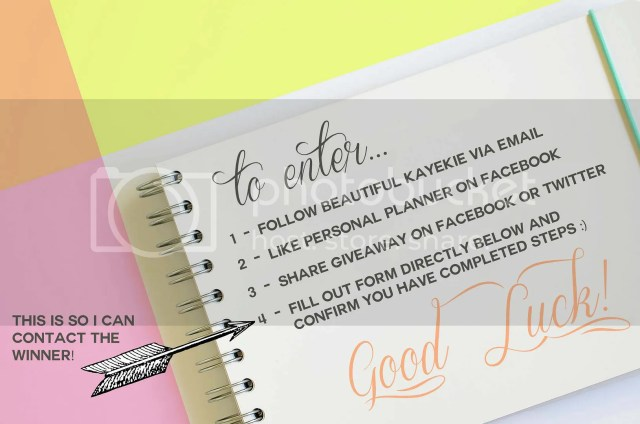 To enter simply: 1 – Subscribe by entering your email into the 'Follow Beautiful Kayekie' space towards the top left, or bottom bar. 2 – Like Personal Planner on Facebook @ https://www.facebook.com/PersonalPlannerAU 3 – Share link to giveaway on Facebook or Twitter 4 – You MUST fill out the form directly below to complete entry. Comments below are welcome but do not qualify.
