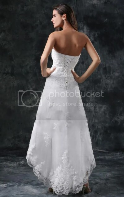 Short Beach A Line Strapless Beaded Lace Tulle Wedding ...