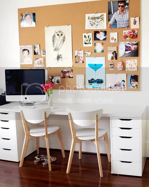 Photo Wall Art Corkboard Gallery Wall in Office with White Desk and Chairs